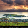 UK - Scotland - Highlands - Sutherland -  Loch Eriboll - Ard Neakie - Crescent promontory that pushes out to the middle from the eastern side, connected to the mainland by a spit of land with a stony beach either side - Late Evening - Stormy Sunset