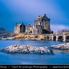 Europe - UK - United Kingdom - Scotland - Eilean Donan Castle - Eilean Donnain - Small island in Loch Duich in the western Highlands - Picturesque castle widely familiar from many photographs & appearances in film & television