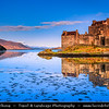 UK - Scotland - Eilean Donan Castle - Eilean Donnain - Small island in Loch Duich in the western Highlands - Picturesque castle widely familiar from many photographs & appearances in film & television - Captured during morning light