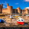 Europe - UK - Wales - North Wales - Caenarfon Castle - Possibly the most famous of Wales's castles with its sheer scale & commanding presence easily set it apart from the rest - Low Tide