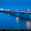 Europe - UK - Wales - North West Wales - Llandudno seaside resort on the coast of North Wales between Bangor & Colwyn Bay - Llandudno pier - 2,295 feet (700 m) - the longest in Wales & the fifth longest in England & Wales - Dusk - Twilight - Blue Hour - Night