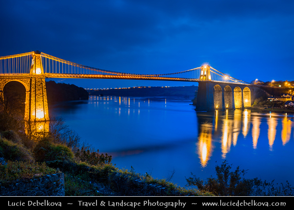 Europe - UK - Wales - North West Wales - Menai Suspension Bridge between the island of Anglesey & the mainland of Wales - Pont Grog y Borth - Cymru - Dusk - Twilight - Blue Hour - Night