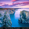 Europe - UK - Wales - South West Wales - Pembrokeshire Coast National Park - Bosherston - Elegug Stacks at St. Govan's Head - Spectacular Rocks which has been carved by the sea - One of the most iconing places on the beautiful & remote Pembrokeshire cost at Sunset