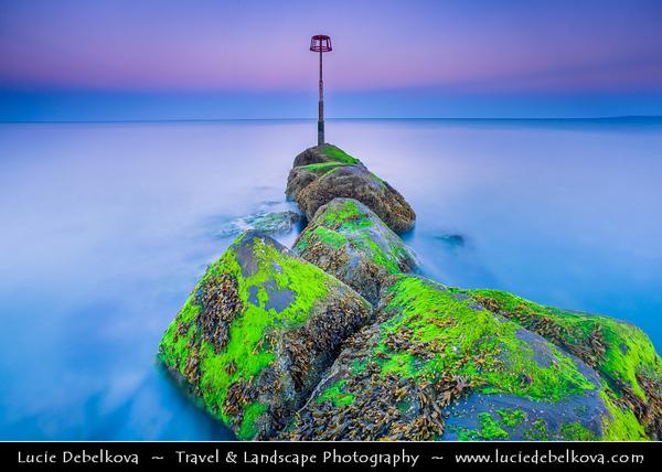 Europe - UK - Wales - South West Wales - Pembrokeshire Coast National Park - Amroth Beach at Dusk - Twilight - Blue Hour - Night