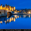 Europe - UK - Wales - North West Wales - Conwy Castle - Castell Conwy - Gritty, dark stoned fortress which has the rare ability to evoke an authentic medieval atmosphere - Dusk - Twilight - Blue Hour - Night