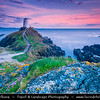 Europe - UK - Wales - North Wales - Isle of Anglesey - Llanddwyn Island - Ynys Llanddwyn - Small tidal island off the west coast of Anglesey with its Lighthouse under warm evening sunset light