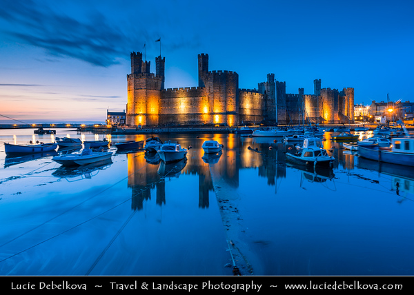 Europe - UK - Wales - North Wales - Caenarfon Castle - Possibly the most famous of Wales's castles with its sheer scale & commanding presence easily set it apart from the rest - Dusk - Twilight - Blue Hour - Night