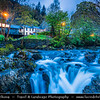 Europe - UK - Wales - North Wales - Snowdonia National Park - Largest National Park in Wales with the highest mountain in England & Wales & the largest natural lake in Wales - Picturesque village Betws y Coed at Dusk - Twilight - Blue Hour - Night