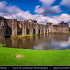 Europe - UK - Wales - South Wales - Caerphilly Castle - Castell Caerffili - Medieval castle that dominates the centre of the town of Caerphilly - Largest castle in Wales & the second largest in Britain after Windsor Castle - Built mainly between 1268 - 1271