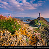 Europe - UK - Wales - North Wales - Isle of Anglesey - Llanddwyn Island - Ynys Llanddwyn - Small tidal island off the west coast of Anglesey with its Lighthouse under warm evening light