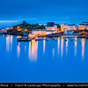 Europe - UK - Wales - South West Wales - Pembrokeshire Coast National Park - Tenby Harbour - Dinbych-y-Pysgod - Walled seaside town on shores of Atlantic Ocean on the west side of Carmarthen Bay at hight tide - Dusk - Twilight - Blue Hour - Night