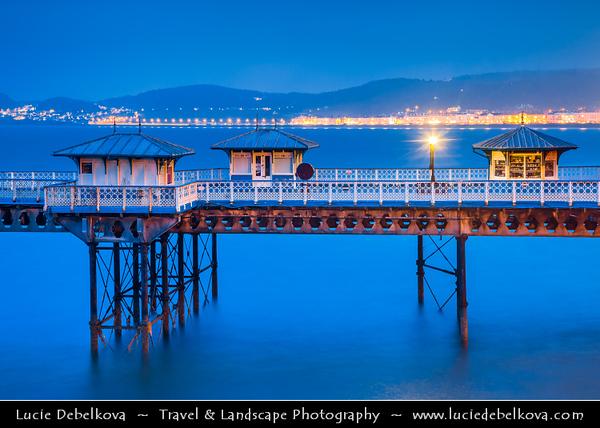 Europe - UK - Wales - North West Wales - Llandudno seaside resort on the coast of North Wales between Bangor & Colwyn Bay - Llandudno pier - 2,295 feet (700 m) - the longest in Wales & the fifth longest in England & Wales - Dusk - Twilight - Blue Hour - Night