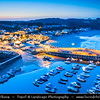 Europe - UK - Wales - South West Wales - Pembrokeshire Coast National Park - Saundersfoot - Seaside resort & one of the most visited Welsh holiday destinations at Dusk - Twilight - Blue Hour - Night