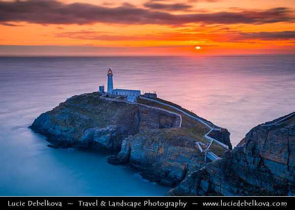 Europe - UK - Wales - North Wales - Isle of Anglesey - Holyhead - South Stack Lighthouse - Designed to allow safe passage for ships on the treacherous Dublin - Holyhead - Liverpool sea route - Late Evening - Sunset - Dusk