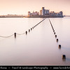Europe - UK - United Kingdom - England - Somerset - Weston-Super-Mare - Coastal town & seaside resort with 2nd highest tidal range in world, which can be up to 15 meters - Causeway to Knightstone Island during extremely high tide
