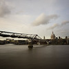 Long-expsoure of the Millenium Bridge on the Thames Embankment in London, England.