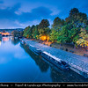UK - England - Somerset - Bath City - UNESCO World Heritage Site -  Victoria Art Gallery &  Pulteney Bridge on the river Avon in Bath at Twilight - Blue Hour - Dusk - Night