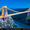 Europe - UK - United Kingdom - England - North Somerset - Bristol - Clifton Suspension Bridge - Spanning Avon Gorge & River Avon, linking Clifton in Bristol to Leigh Woods - Twilight - Night- Blue Hour - Dusk