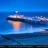 Europe - UK - United Kingdom - England - Sussex - Eastbourne - Popular seaside resorts - Eastbourne Pier - Iconic Victorian pier & Eastbourne's stunning seafront landmark at Dusk - Dawn - Night - Twilight - Blue Hour