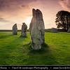Europe - UK - United Kingdom - England - Wiltshire - Avebury Megalithic Stone Circle - UNESCO World Heritage Site - One of the most famous prehistoric monument - Ancient circle of megalithic stones at early morning sunrise