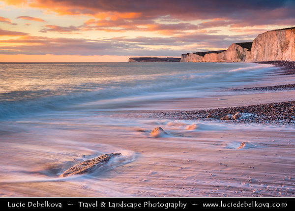 Europe - UK - England - East Sussex - Seven Sisters Country Park - Birling Gap - Seven Sisters Chalk Cliffs - Wild forces of the sea created unusual chalk platforms and huge heaps of gleaming white chalk cliffs
