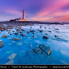 Europe - UK - United Kingdom - England - Northumberland - North East of England - Mary's Lighthouse - Whitley Bay - Tyne & Wear Coast - Tidal island linked to mainland by concrete causeway which is submerged at periods of high tide