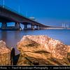 Europe - UK - United Kingdom - England - Gloucestershire - Severn Bridge - Motorway suspension bridge spanning River Severn & River Wye between Aust - View from English side of river