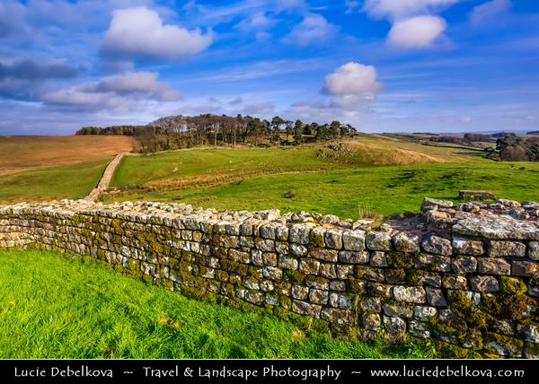 Europe - UK - United Kingdom - England - Northumberland - Hadrian's Wall - Vallum Aelium - Aelian Wall - Defensive fortification in Roman Britain - UNESCO World Heritage Site - Housesteads Roman Fort