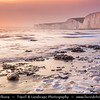 Europe - UK - United Kingdom - England - East Sussex - Seven Sisters Country Park - Birling Gap - Seven Sisters Chalk Cliffs - Wild forces of sea created unusual chalk platforms and huge heaps of gleaming white chalk cliffs