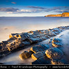 Europe - UK - England - Somerset - Quantock Hills Area of Outstanding Natural Beauty - Kilve Beach - Jurassic coast on Bristol Channel with Layers of Sedimentary Rock on beach and cliffs
