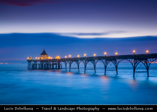 Europe - UK - United Kingdom - England - Somerset - Clevedon - Victorian seaside town - Clevedon beautiful pier with delicate arches - English Heritage - Sunset