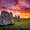 Europe - UK - United Kingdom - England - Wiltshire - Avebury Megalithic Stone Circle - UNESCO World Heritage Site - One of the most famous prehistoric monument - Ancient circle of megalithic stones at early morning sunrise