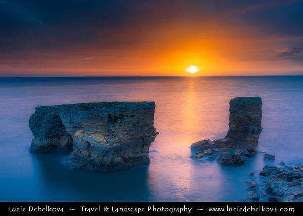Europe - UK - United Kingdom - England - Northumberland - North East of England - Lizard Point - Limestone sea stack at Whitburn on the South Tyneside coastline at dramatic sunrise