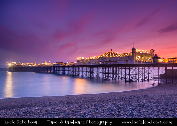Europe - UK - United Kingdom - England - Sussex - Brighton - One of first of great seaside resorts of Europe - Brighton Marine Palace & Pier on city seafront at Dusk - Dawn - Night - Twilight - Blue Hour