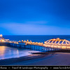 Europe - UK - United Kingdom - England - Sussex - Eastbourne - Popular seaside resorts - Eastbourne Pier - Iconic Victorian pier & Eastbourne's stunning seafront landmark at Dusk - Dawn - Night - Twilight - Blue Hour