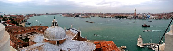 120° panorama of Venice, Italy from San Giorgio campanile, across the lagoon from Piazza San Marco  The image was stitched from 7 handheld images.