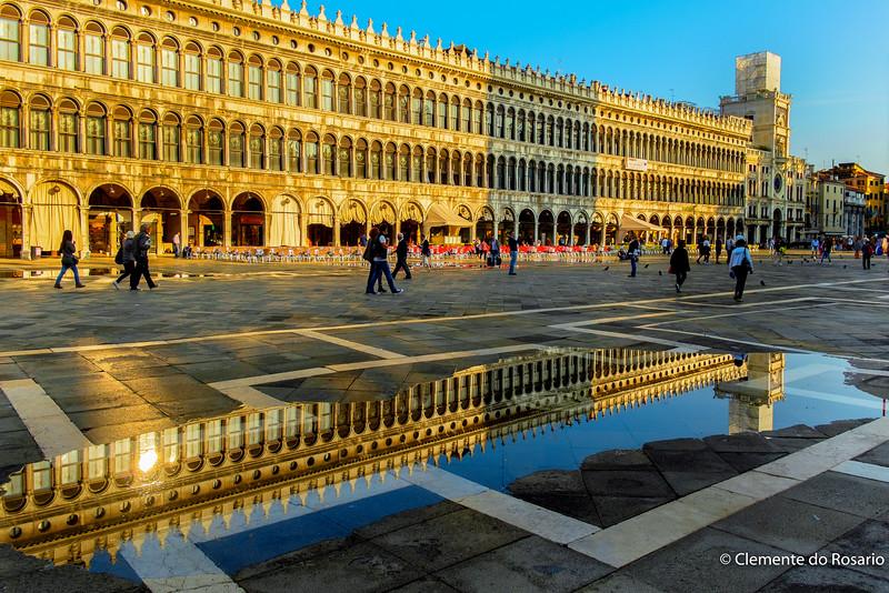 Venice Flooding (Aqua Alta) in St. Mark's Square,Venice, Italy