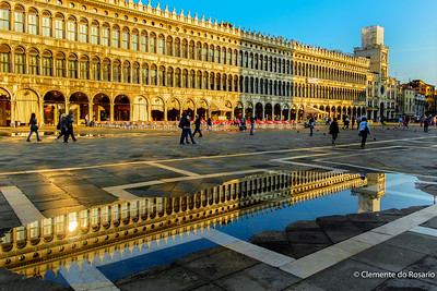 Venice Flooding (Aqua Alta) in St. Mark's Square,Venice, Italy