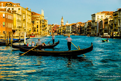 Gondolas plying the Grand Canal in Venice, Italy