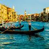 Gondolas plying the Grand Canal in Venice, Italy