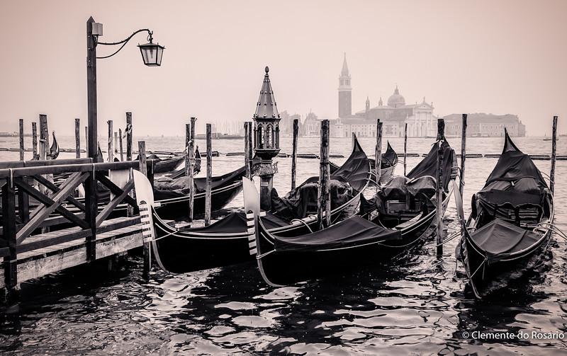 Gondolas moored at St. Mark's Square, Venice, Italy