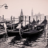 Gondolas moored at St. Mark's Square, Venice, Italy