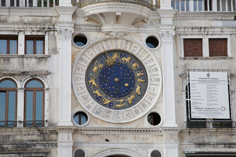 Close-up of St Marco Clock Tower. It's an amazing time piece, marking not only the hours but the date, moon phase and astrological time.