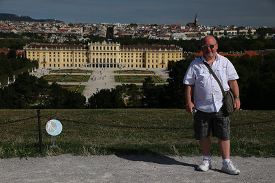 Vince outside the Gloriette, with Schonbrunn Palace (and Vienna) in background