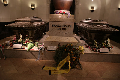 Inside the Kaisergruft - Tombs of Emperor Franz Joseph, Empress Elizabeth (Sisi, on left side) and their son Rudolph.