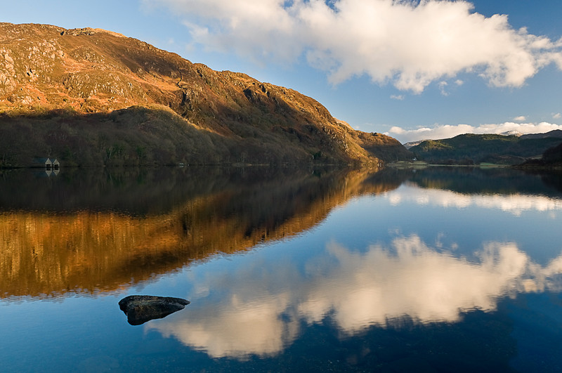 Llyn Dinas lake in the Nant Gwynant valley Snowdonia
