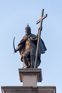 Statue of King Sigismund III atop the column of the same name.