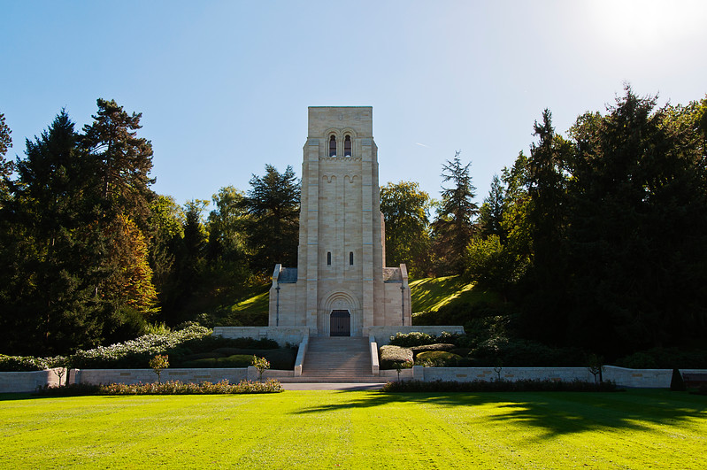 The Aisne Marne Cemetery and its memorial were designed by the Boston firm of Cram and Ferguson. The memorial chapel is 80 feet tall and made of native limestone.<br /> <br /> It is situated on the Allied trench line. There is a hole near the chapel door from a German tank round in 1940.