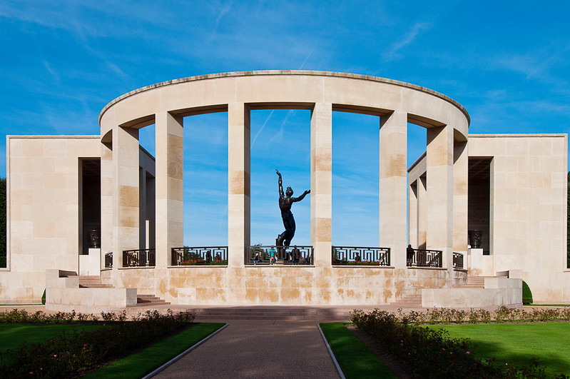 The Normandy American Cemetery and Memorial in Colleville-sur-Mer is on a bluff overlooking Omaha Beach.