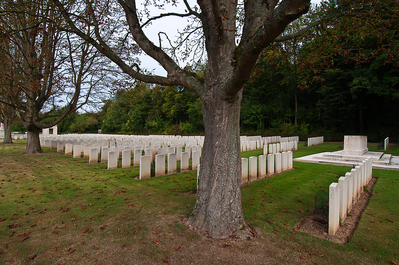 You find these neat Commonwealth War Graves Commission cemeteries off the side of the side road or off further in the middle of cultivated fields.<br /> <br /> This is Blighty Valley Cemetery named for the depression between two ridges that served as a communication trench.